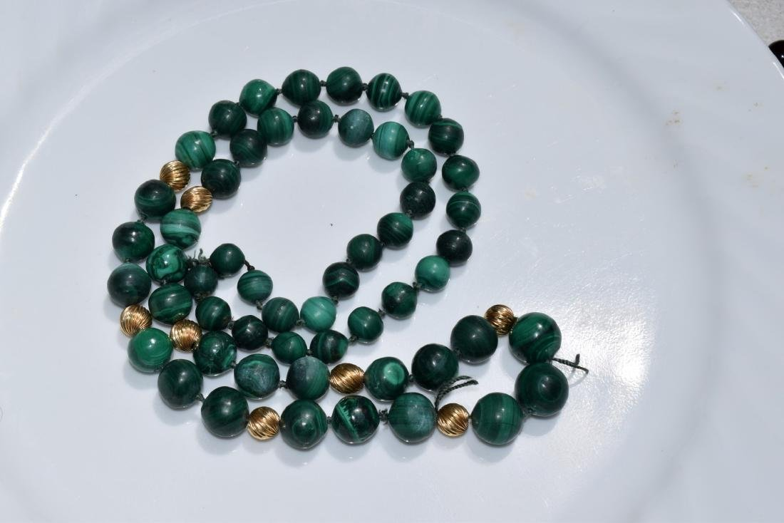 Vintage Malachite Bead Necklace - 2