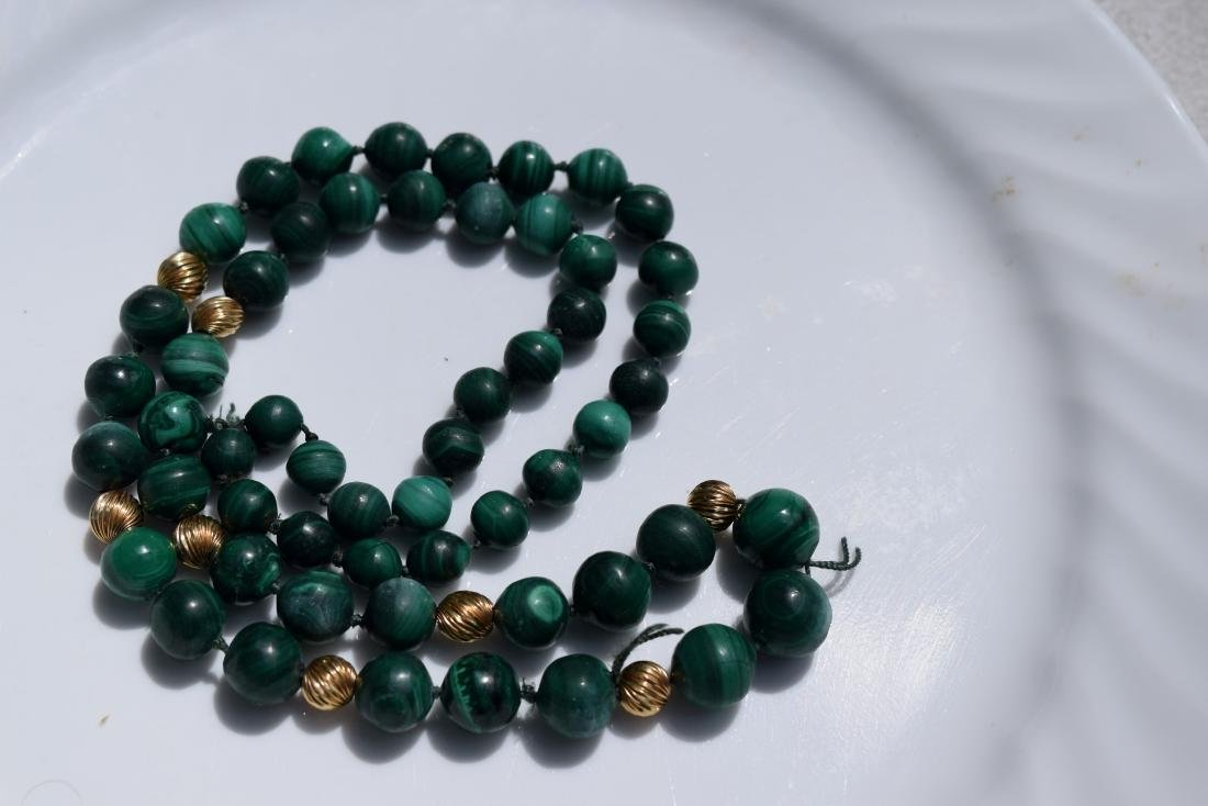 Vintage Malachite Bead Necklace - 3