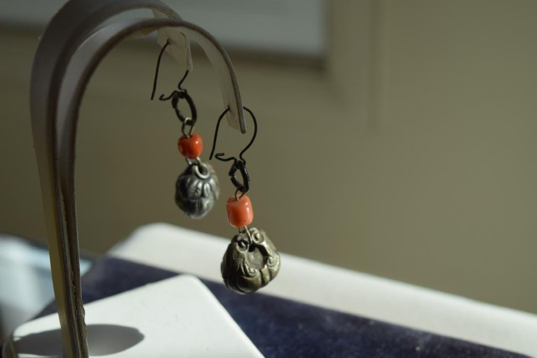 Pair of Antique Chinese Silver Coral Earrings - 9