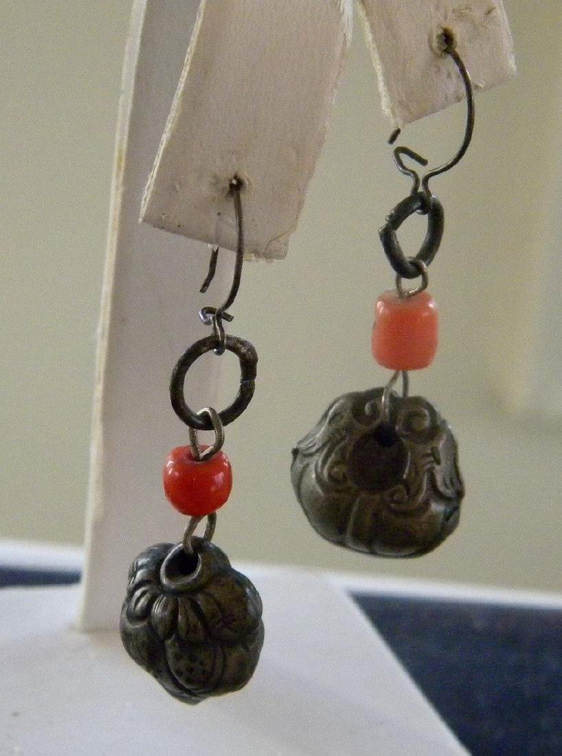 Pair of Antique Chinese Silver Coral Earrings