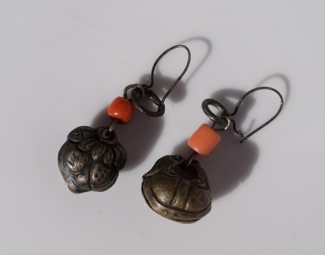 Pair of Antique Chinese Silver Coral Earrings - 2