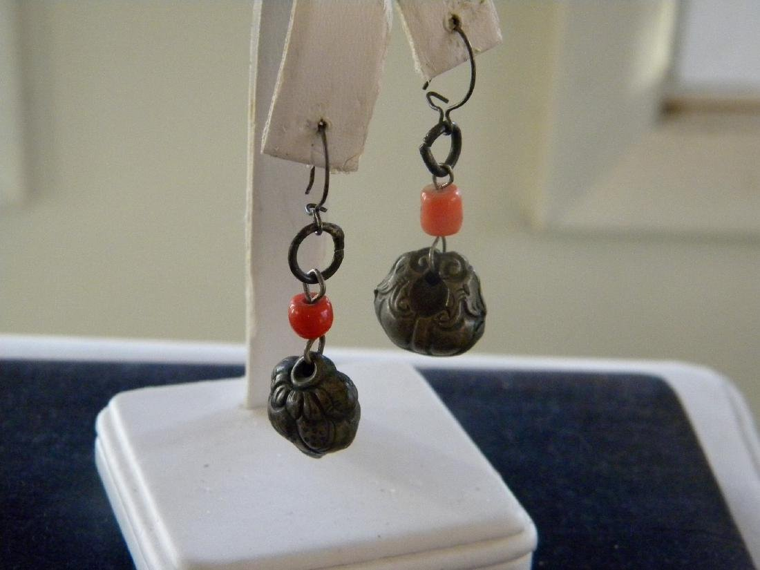 Pair of Antique Chinese Silver Coral Earrings - 3