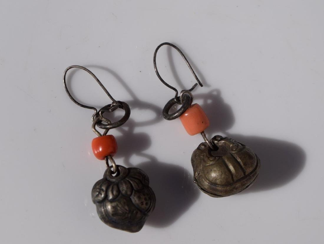 Pair of Antique Chinese Silver Coral Earrings - 4