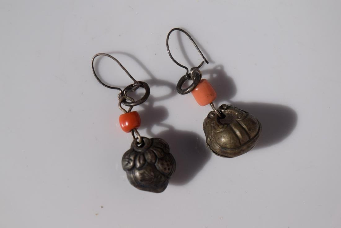 Pair of Antique Chinese Silver Coral Earrings - 5