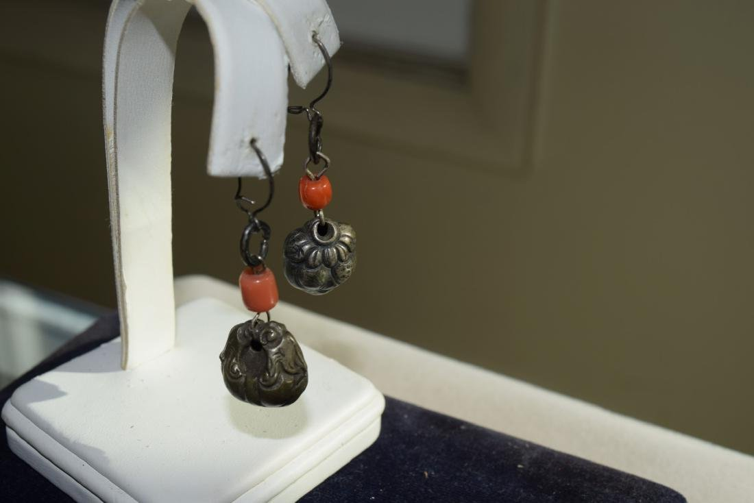 Pair of Antique Chinese Silver Coral Earrings - 7