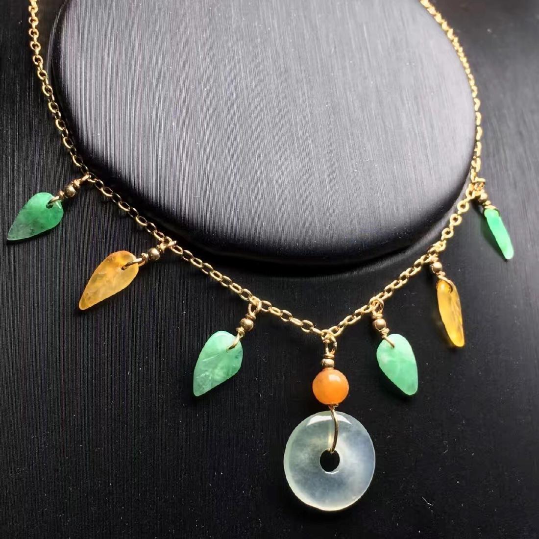 18K Gold Jadeite Necklace - 2