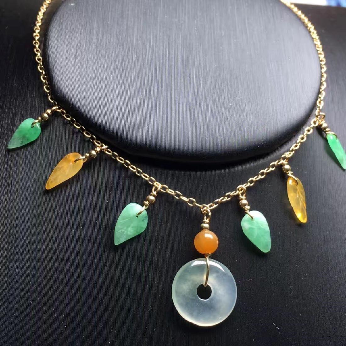 18K Gold Jadeite Necklace - 3
