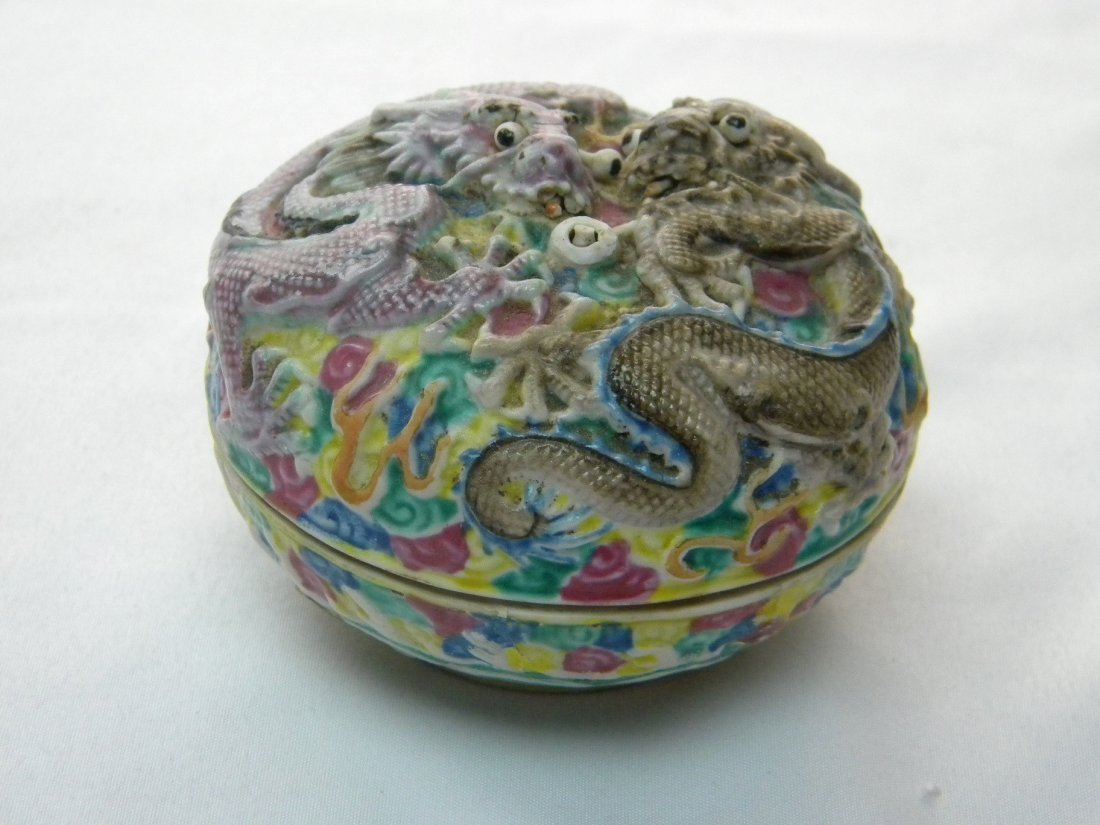 ANTIQUE CHINESE CARVED DRAGON PORCELAIN BOX QIAN LONG - 2