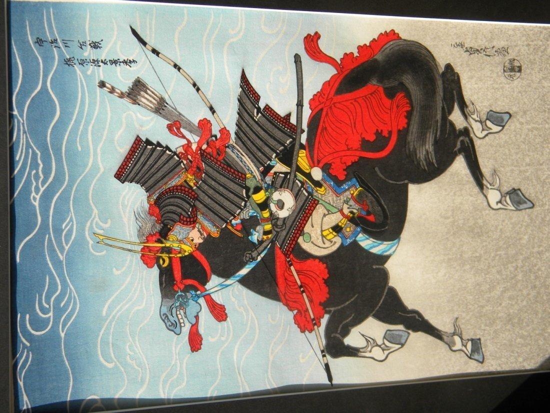 Antique Japanese Warrior Painting Framed - 2