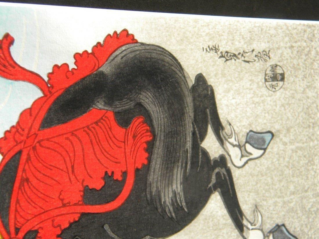 Antique Japanese Warrior Painting Framed - 4