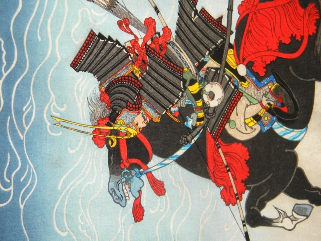 Antique Japanese Warrior Painting Framed - 5