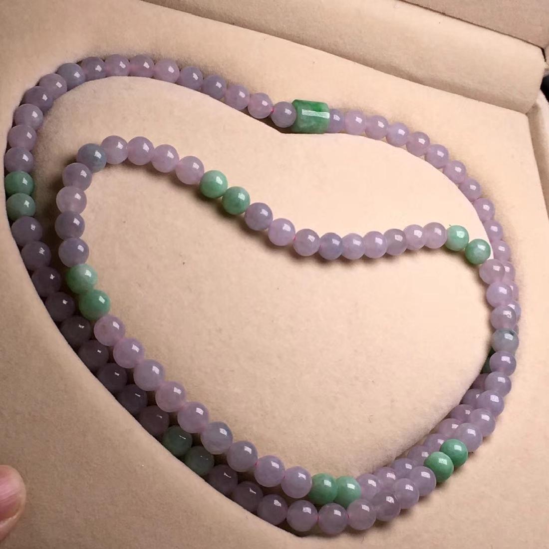 Natural Purple Jadeite 108 Beads Necklace