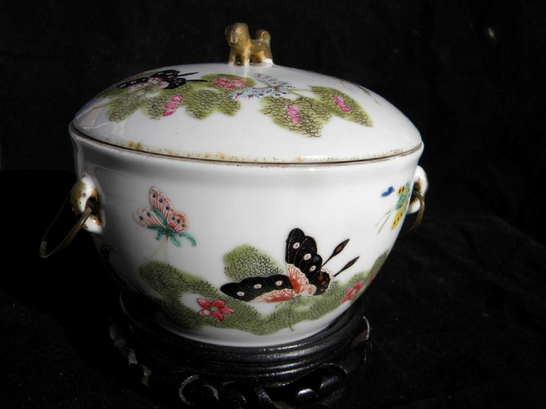 Antique Chinese Famille Rose Soup Pot with Cover