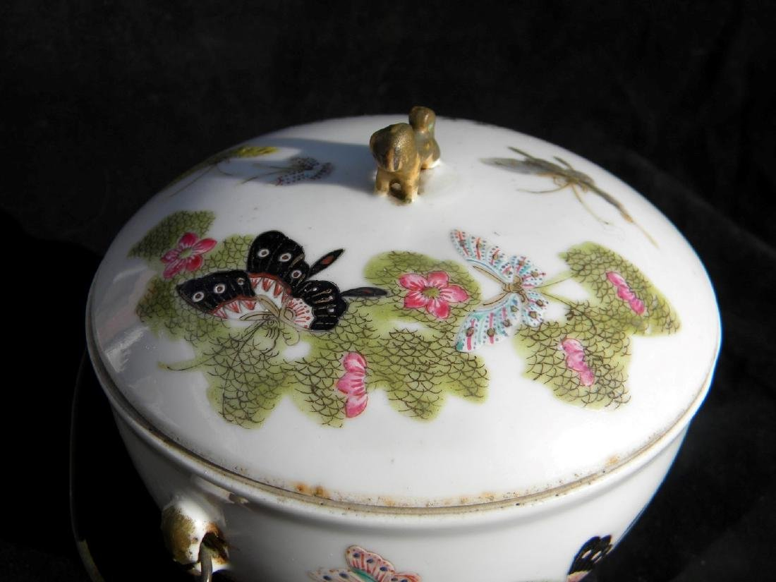 Antique Chinese Famille Rose Soup Pot with Cover - 4