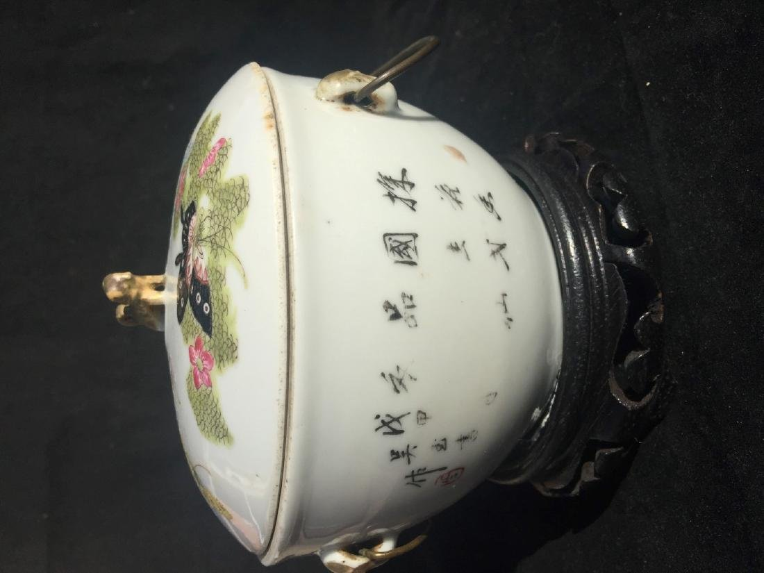 Antique Chinese Famille Rose Soup Pot with Cover - 7