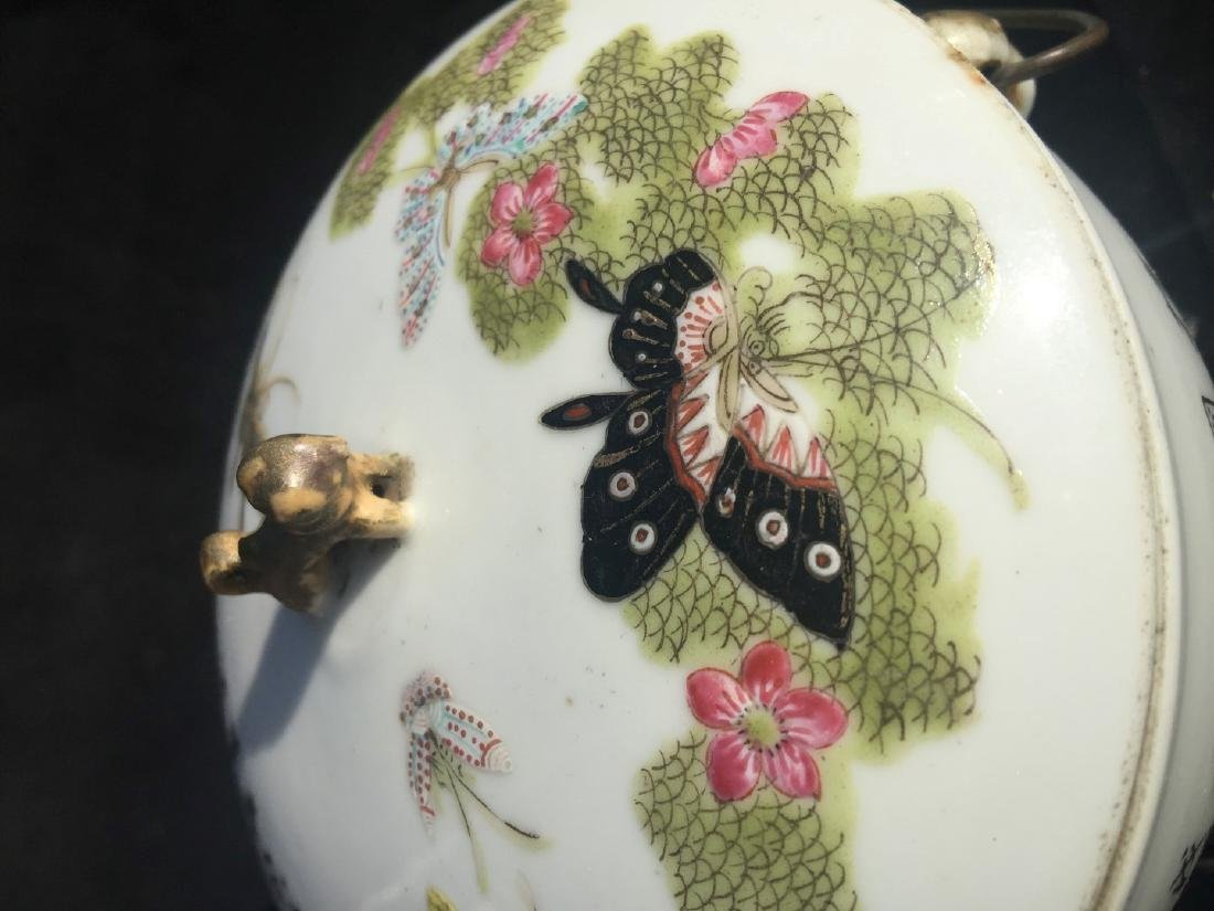 Antique Chinese Famille Rose Soup Pot with Cover - 8