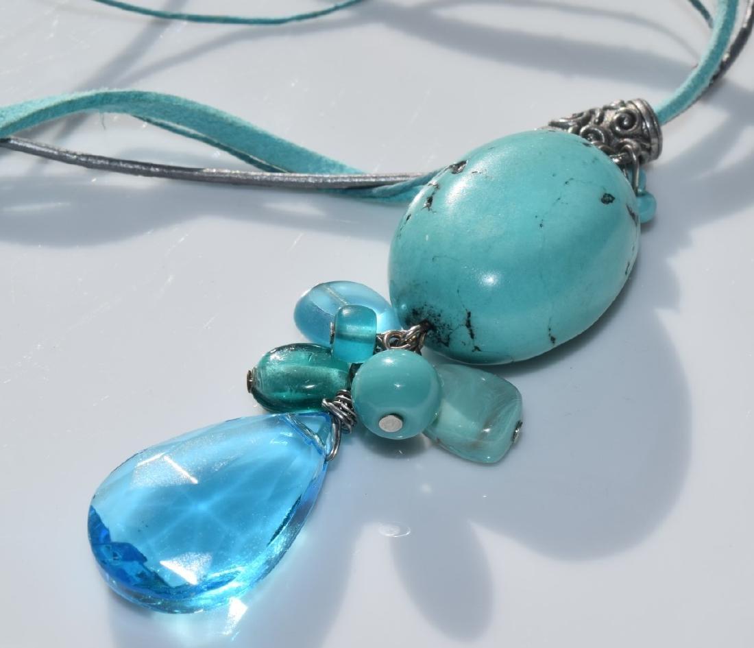 Vintage Turquoise Bead Pendant Necklace