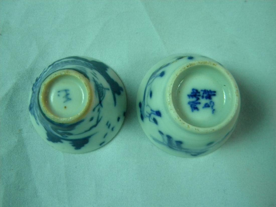 PAIR OF BLUE AND WHITE LIQUOR CUPS - 4
