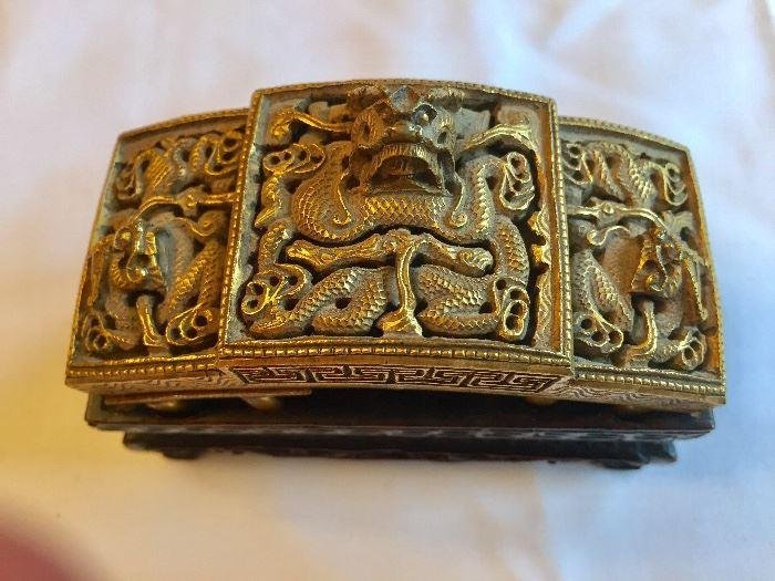 Antique Chinese Bronze Gold Gilted Belt Buckle with