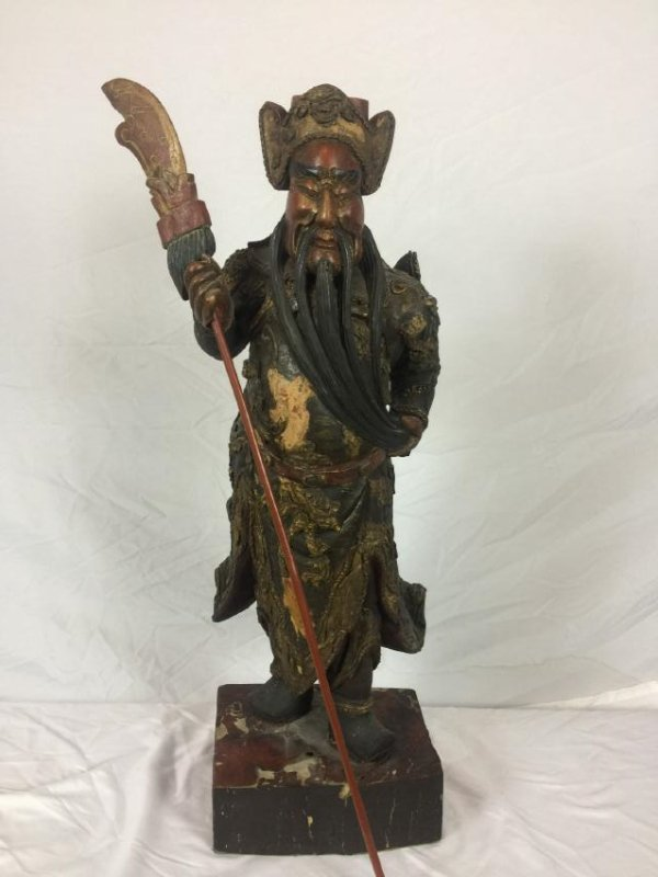 Antique Carved Wood Guangong Statue