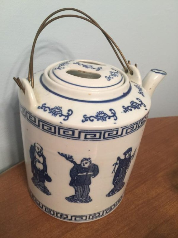 Antique Chinese Blue and White Eight Immortals Teapot