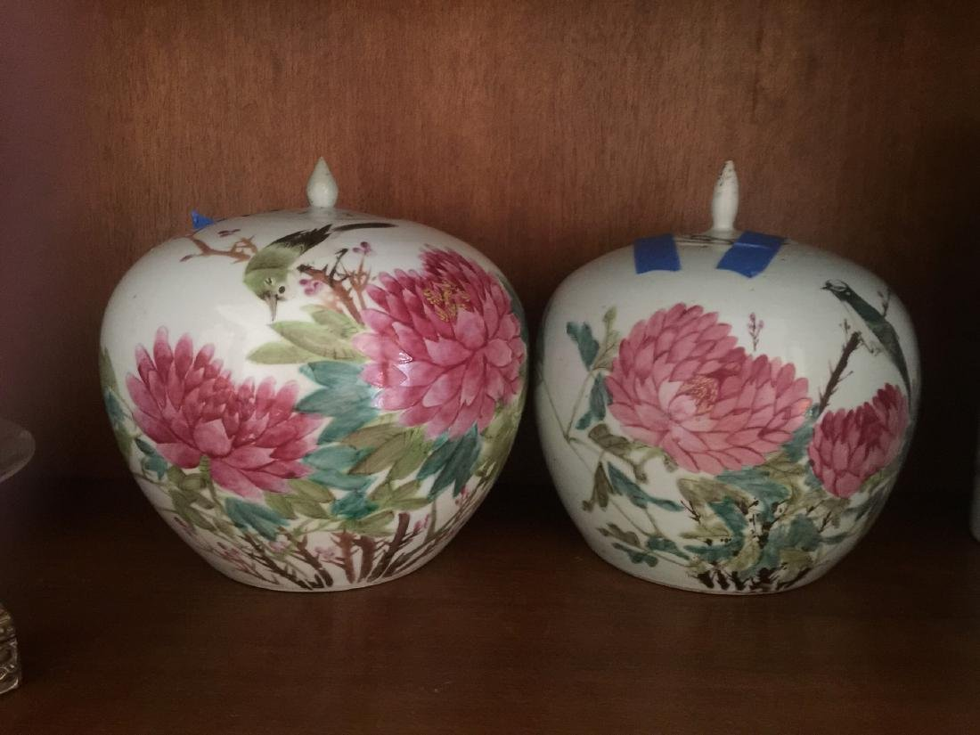 Pair of Antique Chinese Covered Pots