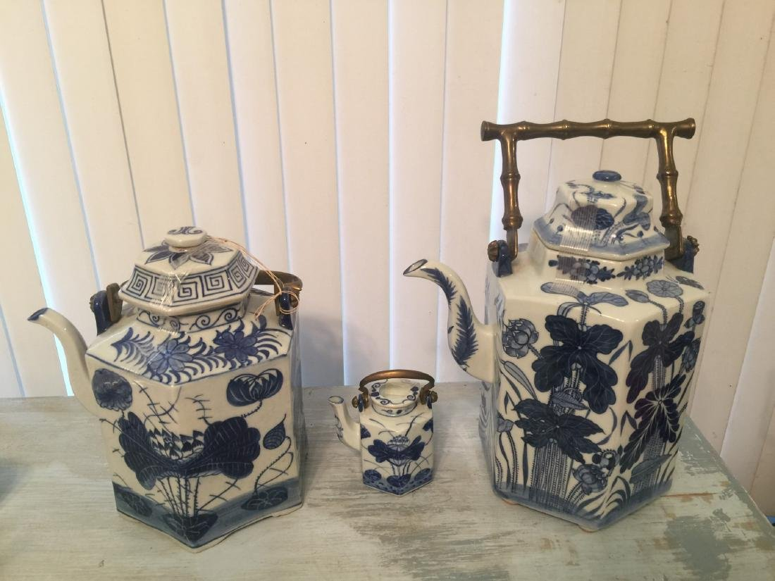 Three Antique Blue and White Teapots