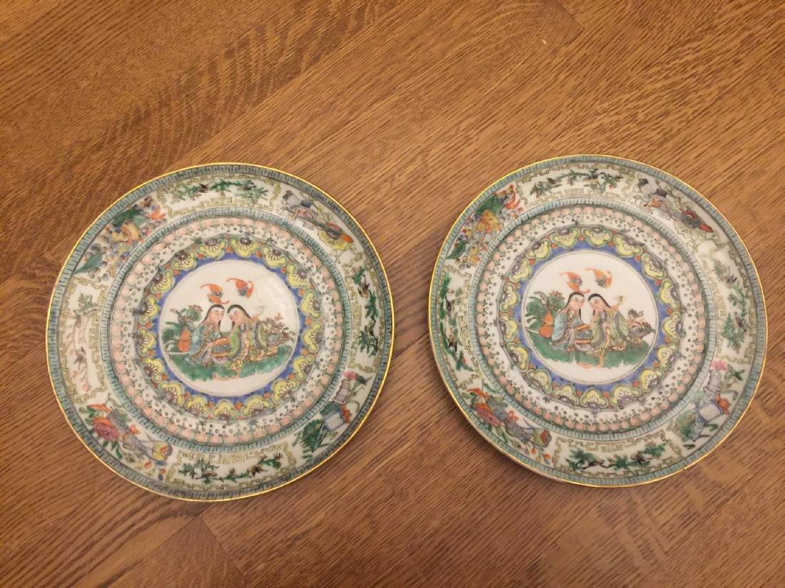 Pair of He He Er Xian Famille Rose Plates