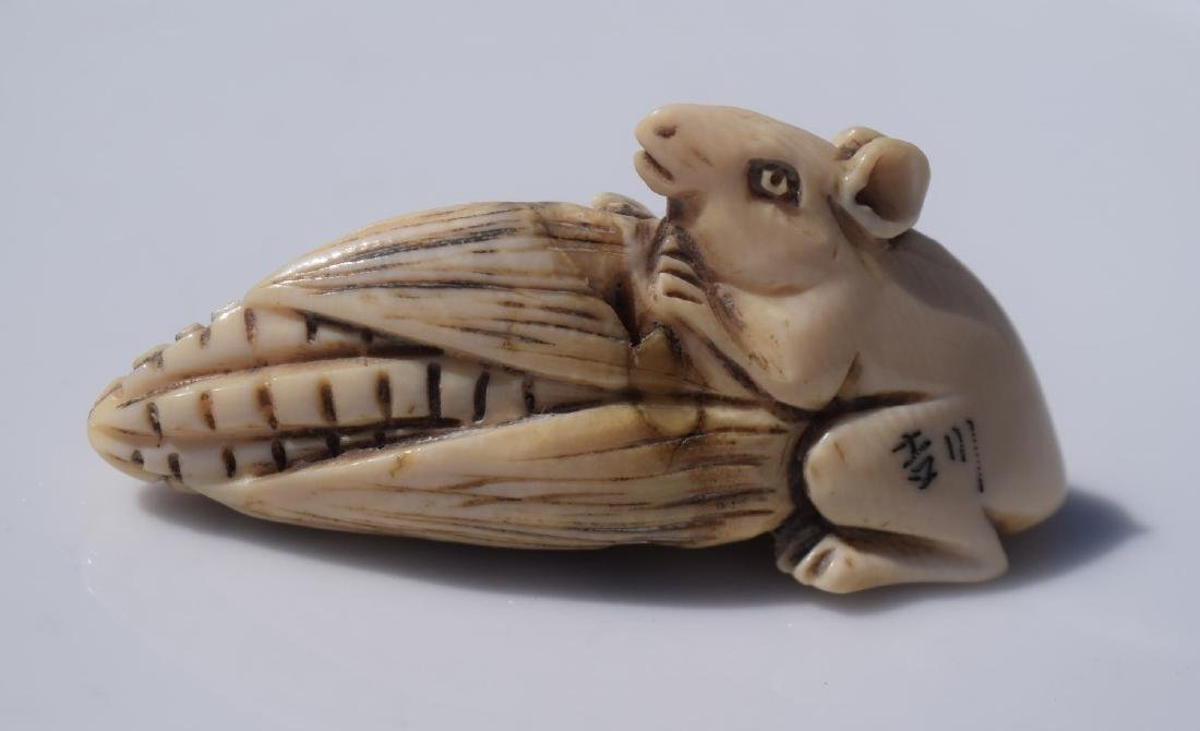 Antique Carved Rat and Coin Statue