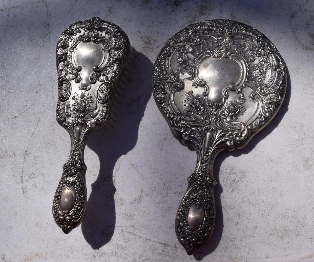 Pair of sterling Comb and Mirror