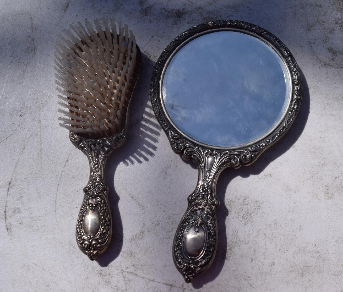 Pair of sterling silver Comb and Mirror - 2