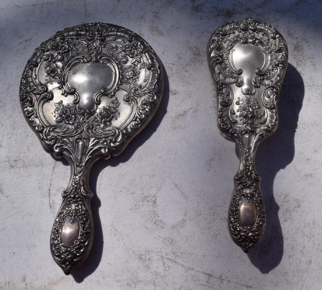 Pair of sterling silver Comb and Mirror - 3