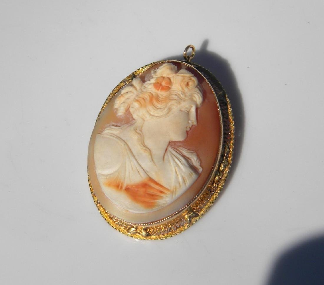 Antique 14K Gold Cameo Pendant and Brooch Pin