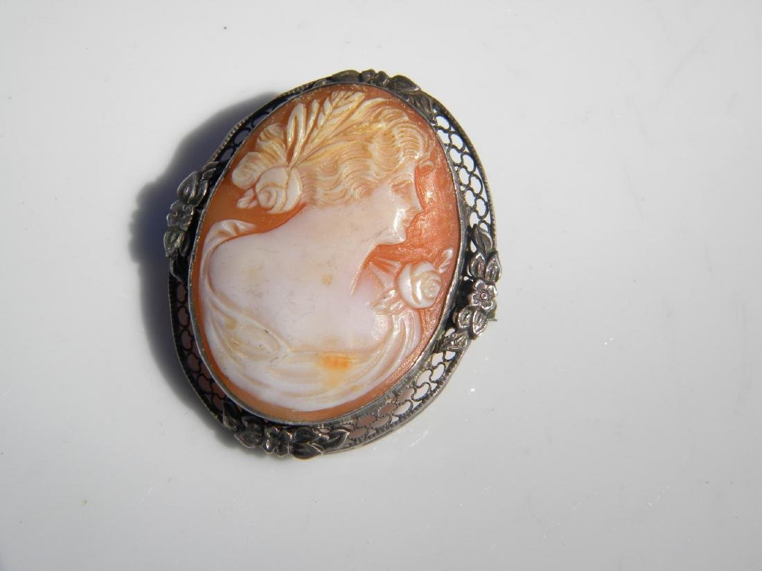 Vintage Sterling Cameo Pendant and Brooch Pin