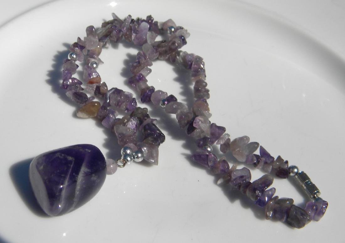Vintage Amethyst Beads Necklace with Pendant