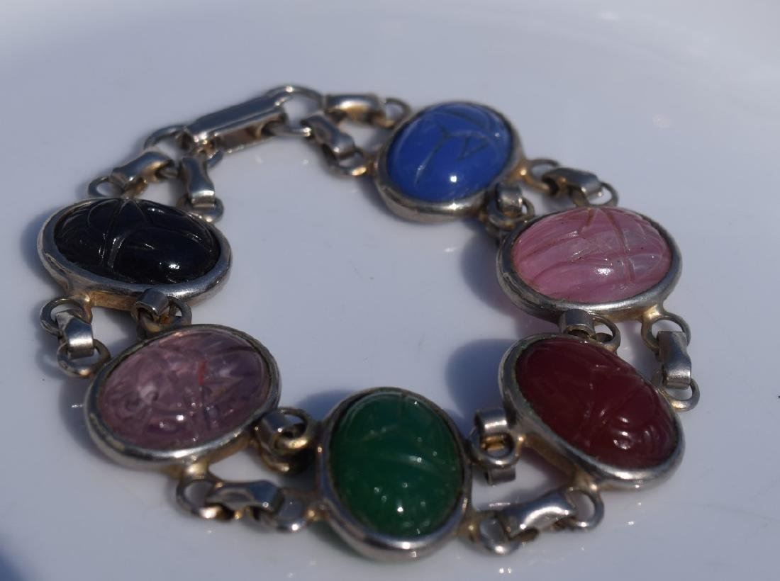 Silver Necklace with Multiple Stones