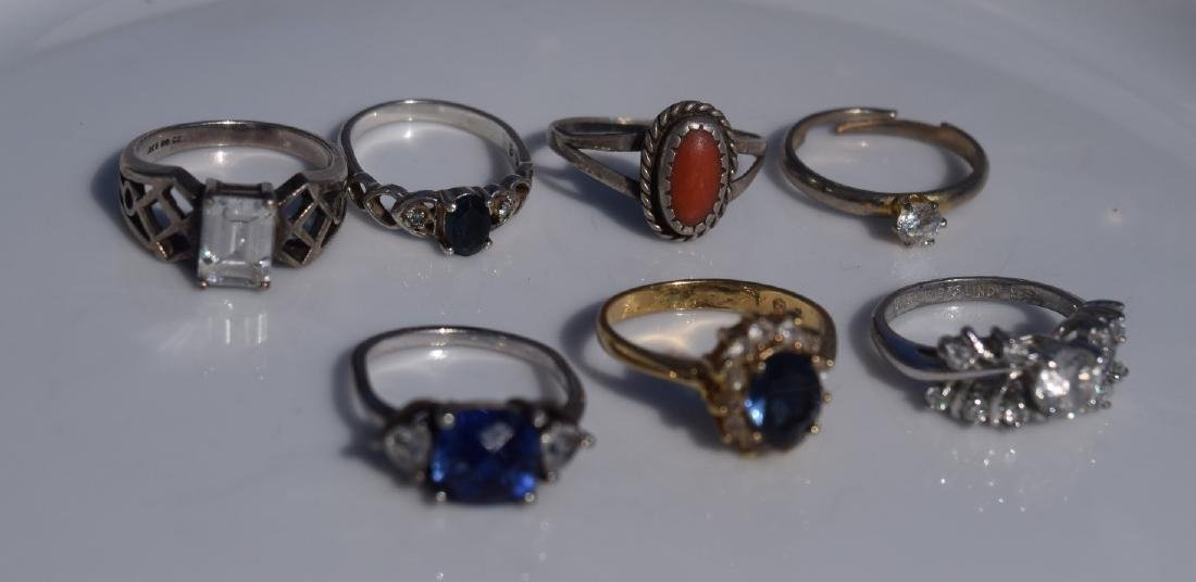 Seven Sterling Silver Rings