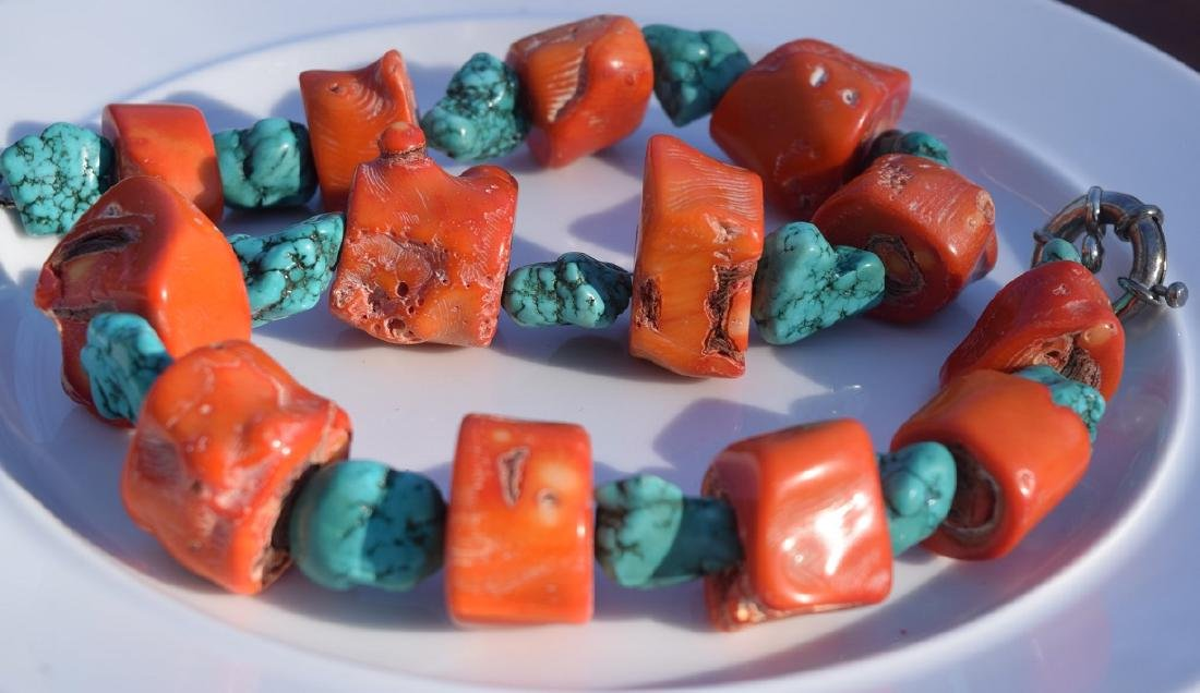 Huge Coral and Turquoise Beads Necklace