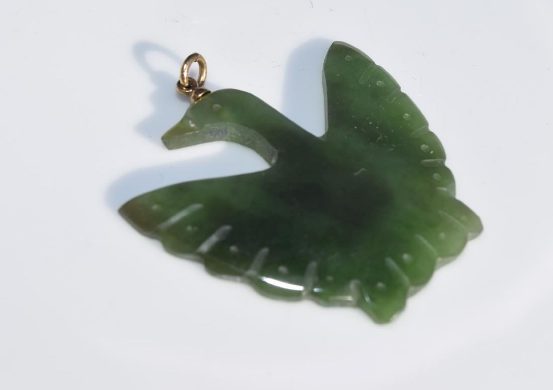 Vintage Nephrite Jade Bird Brooch Pin