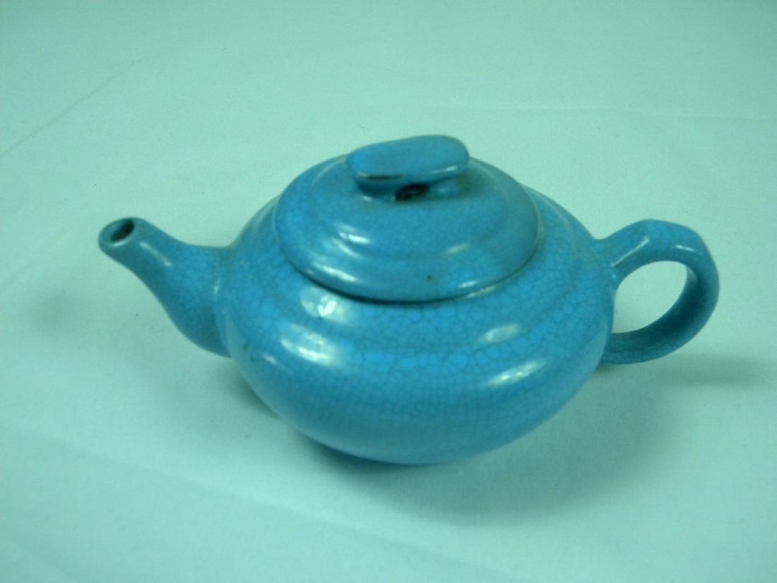 Antique Chinese Yixing Zisha Blue Glazed Teapot