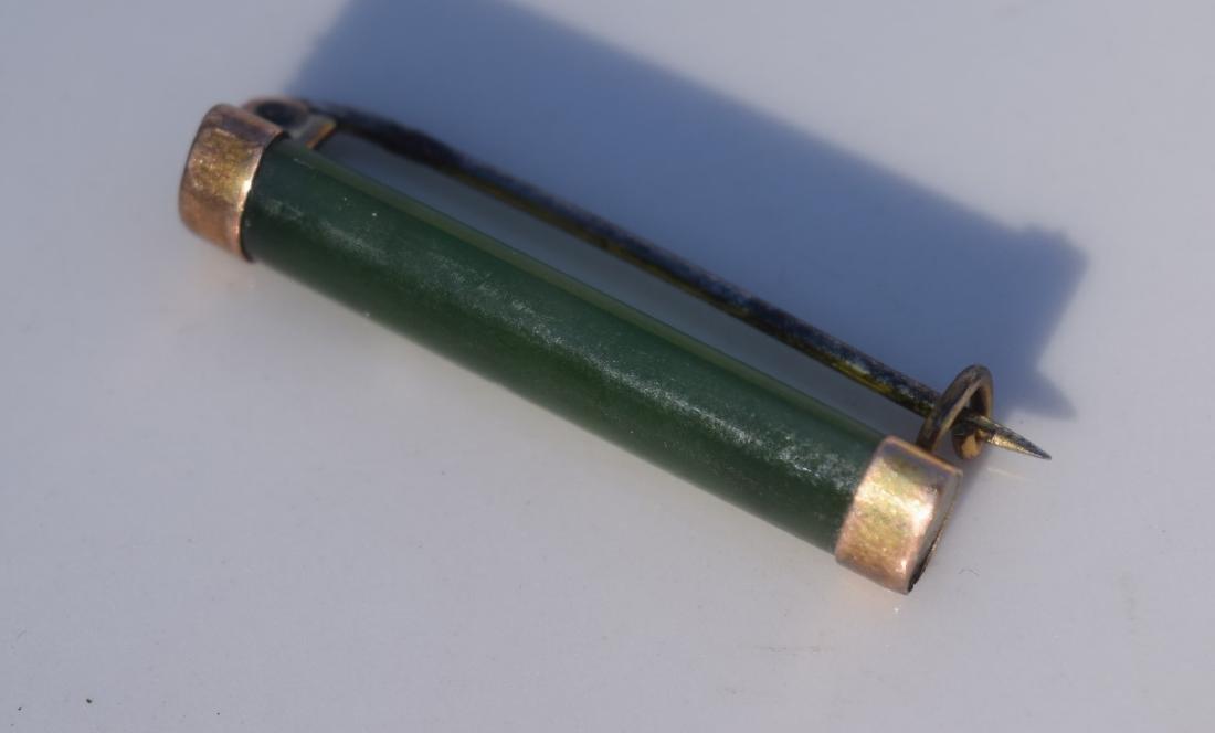 Vintage Green Jade Jadeite Brooch Pin