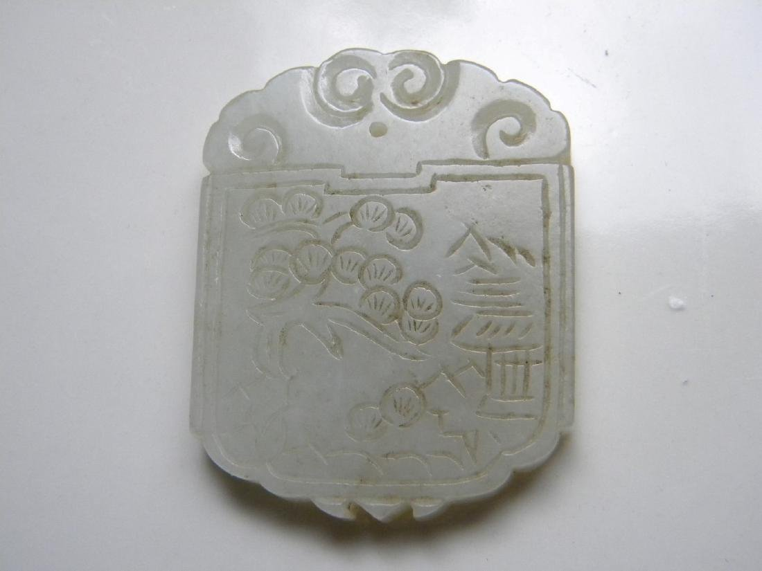 Antique Chinese Nephrite White Jade Plaque