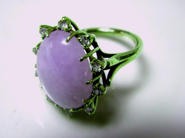 Antique 14K Gold Diamond Natural Purple Jadeite Ring