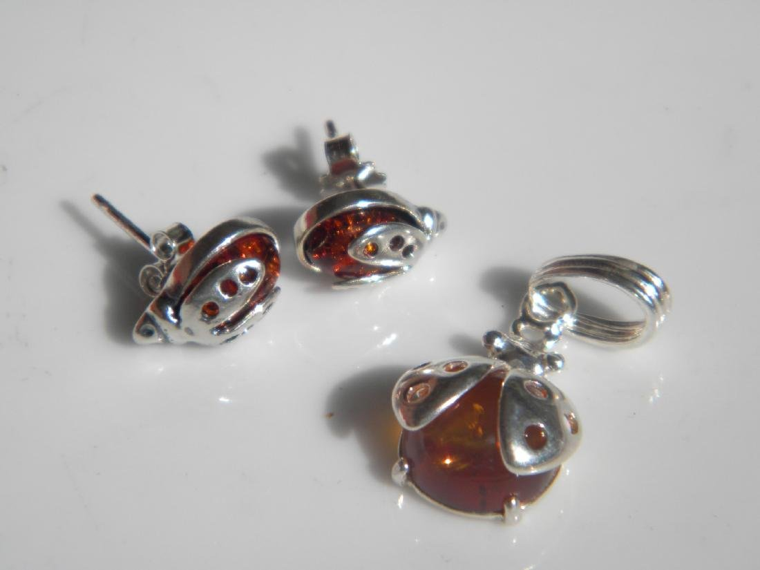 Set of Silver Amber Earrings and Pendant