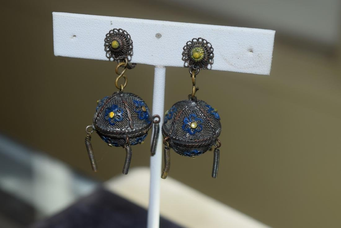 Pair of Antique Chinese Silver Enamel Earrings
