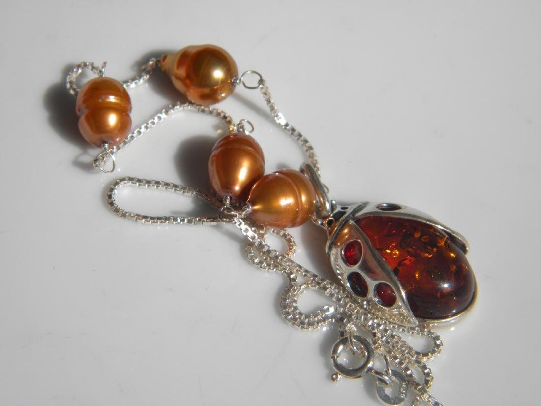 Natural Abmber Silver Necklace