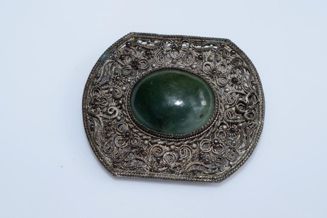 Antique Chinese Silver Filigree Jadeite Brooch Pin