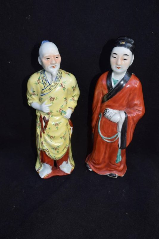 TWO ENAMELED FIGURES OF IMMORTALS