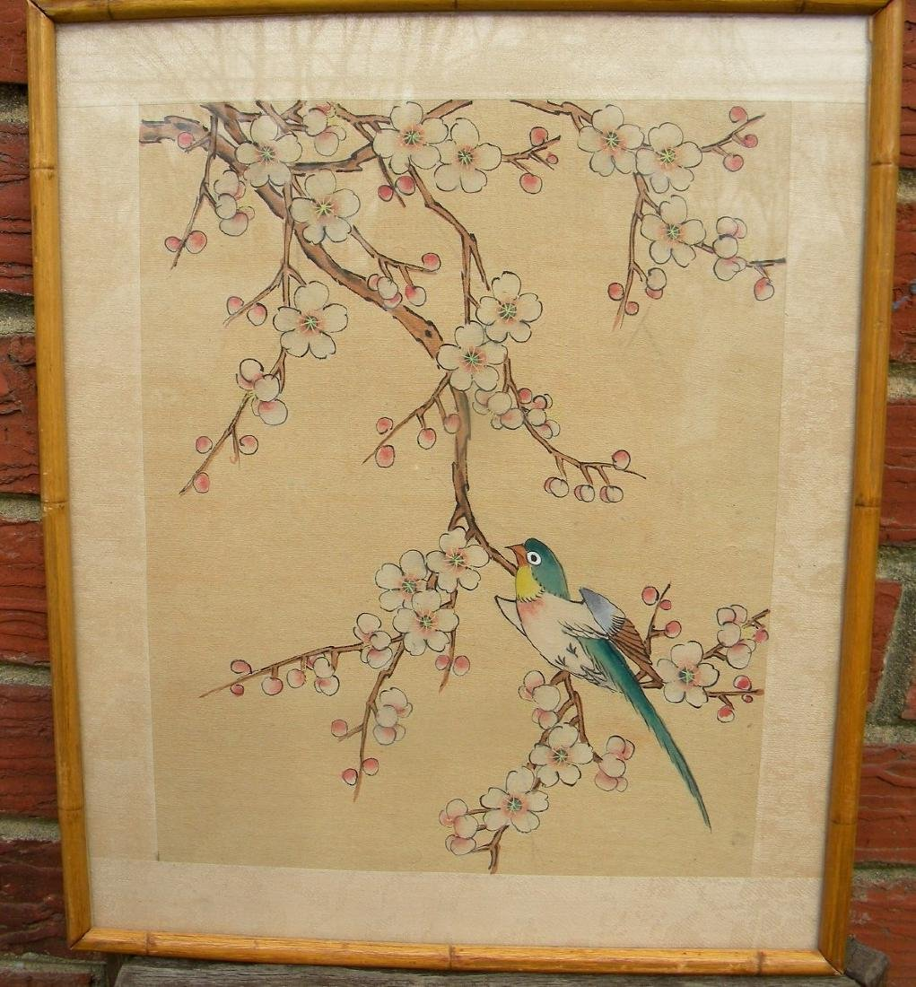 "Vintage Chinese Bird Painting Framed, size: 12"" x 10.5"""