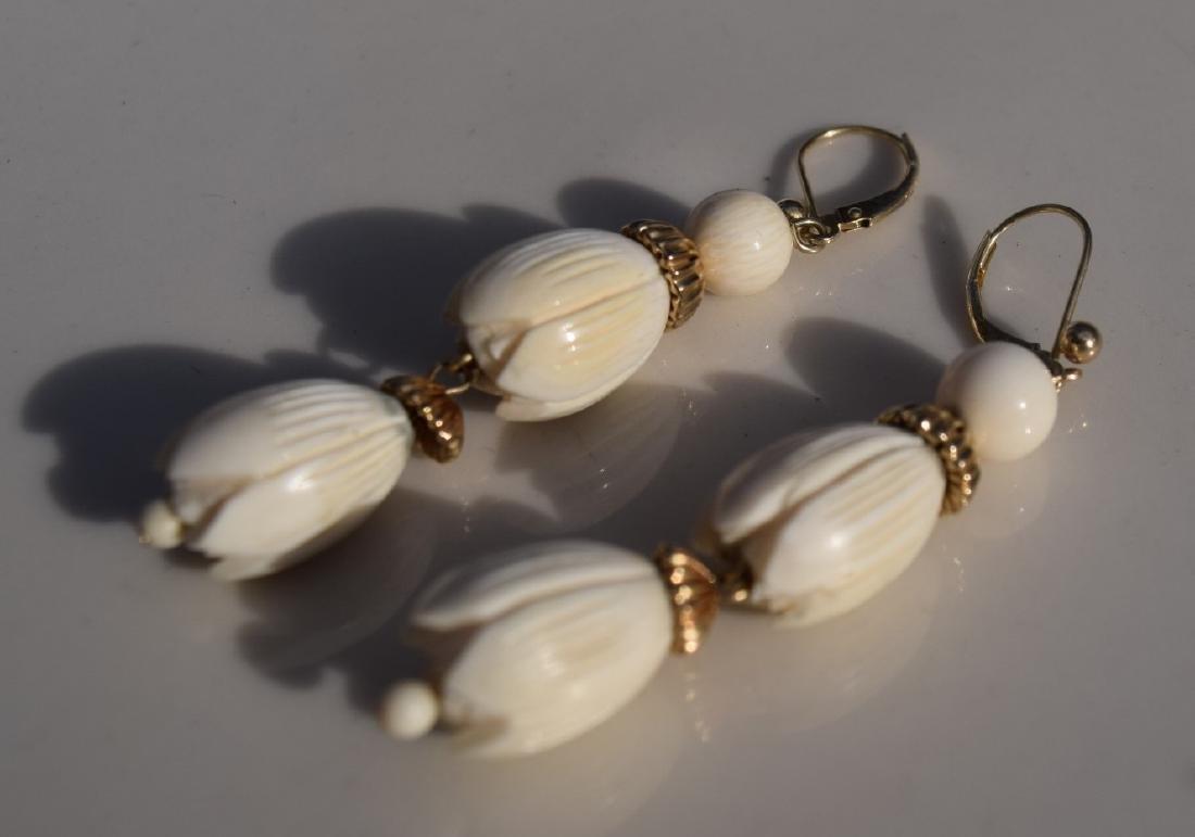 Pair of 14K Gold Tulip Flower Earrings